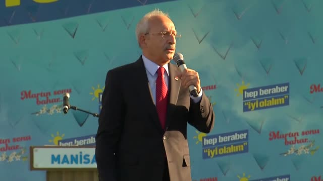 Turkey's main opposition Republican People's Party leader Kemal Kilicdaroglu speaks at a campaign rally for March 31 local elections in Manisa on...