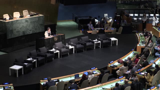 turkey's minister of development cevdet yilmaz speaks during a ministerial meeting at the un headquarters marking the 50th anniversary of the un... - hauptfirmensitz stock-videos und b-roll-filmmaterial