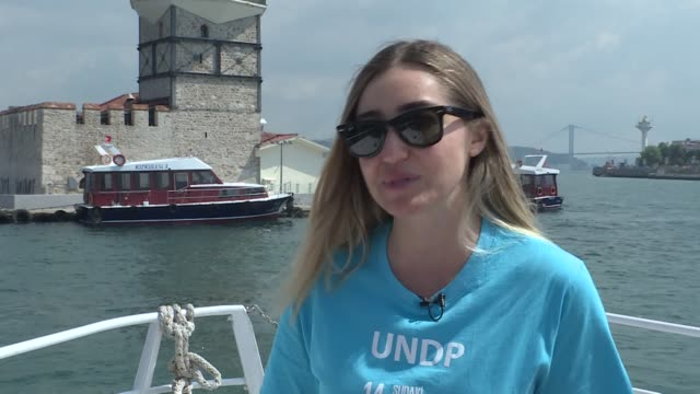 turkey's multiple world-record holder sahika ercumen dived into the bosphorus strait on june 30, 2020 to raise awareness about plastic pollution in... - istanbul province stock videos & royalty-free footage
