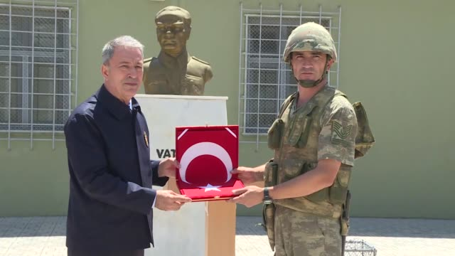 turkey's national defense minister hulusi akar accompanied by chief of general staff gen yasar guler and his lieutenants land forces commander umit... - fifa world cup 2010 stock videos & royalty-free footage