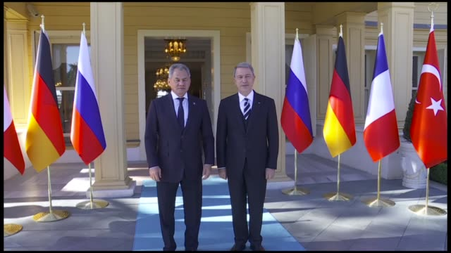 turkey's national defense minister met on saturday with his russian counterpart in istanbul ahead of a four-way syria summit to be held in the city... - istanbul province stock videos & royalty-free footage