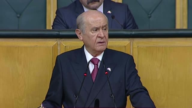 turkey's nationalist movement party's leader devlet bahceli delivers a speech during his party's group meeting at the grand national assembly of... - november stock videos & royalty-free footage