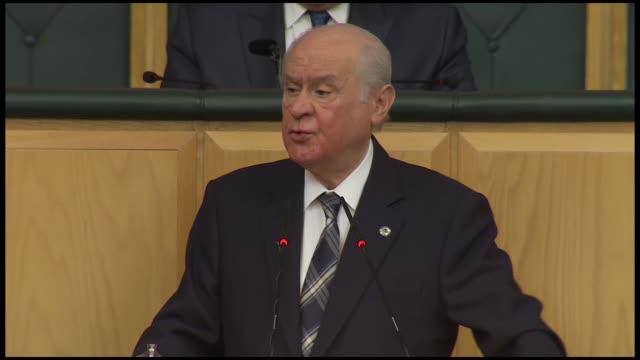 turkey's opposition nationalist movement party leader devlet bahceli delivers a speech at his party's parliamentary group meeting in ankara on... - legal defense stock videos & royalty-free footage