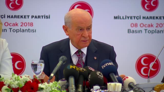 Turkey's opposition Nationalist Movement Party leader Devlet Bahceli speaks to reporters in Ankara on January 08 2018 Rather than fielding a...