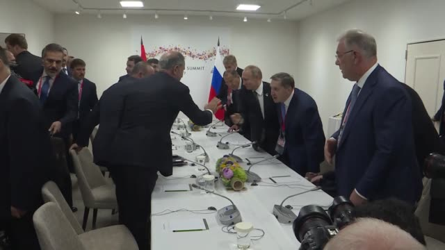 turkey's president meets on june 29, 2019 with his russian counterpart on the sidelines of the g20 summit in japan. recep tayyip erdogan and vladimir... - russia stock videos & royalty-free footage
