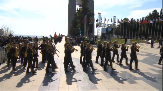 turkey's president recep tayyip erdogan and prince charles of wales salute soldiers during the commemoration ceremony marking the 100th anniversary... - 100th anniversary stock videos & royalty-free footage