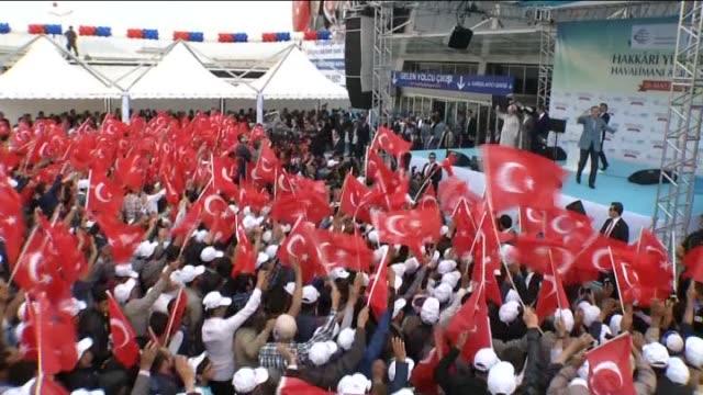 turkey's president recep tayyip erdogan and turkish prime minister ahmet davutoglu speak during a opening ceremony of the selahaddin eyyubi airport,... - last stock videos & royalty-free footage