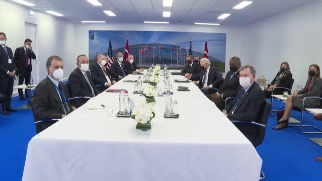turkey's president recep tayyip erdogan met with us president joe biden in a closed-door meeting on monday, june 14, during the nato summit in... - nato stock-videos und b-roll-filmmaterial