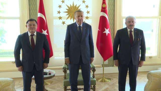 turkey's president recep tayyip erdogan receives kyrgyz parliament speaker dastanbek jumabekov at vahdettin pavilion in istanbul turkey on august 17... - pavilion stock videos & royalty-free footage