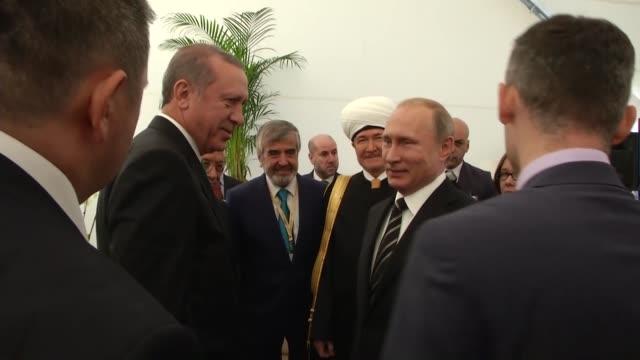 turkey's president recep tayyip erdogan russian president vladimir putin palestinian president mahmoud abbas moscow mayor sergey sobyanin and grand... - mayor stock videos & royalty-free footage