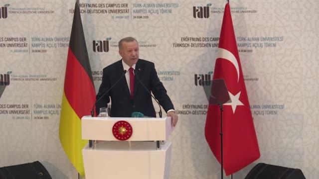 turkey's president recep tayyip erdogan warns of chaos in libya unless peace is quickly established as he hosts german chancellor angela merkel for a... - recep tayyip erdoğan stock videos & royalty-free footage