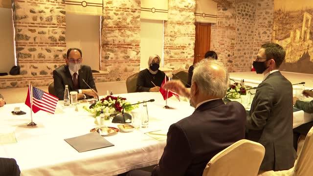 turkey's presidential spokesman ibrahim kalin on saturday received us special representative for afghanistan zalmay khalilzad and his accompanying... - ambassador stock videos & royalty-free footage