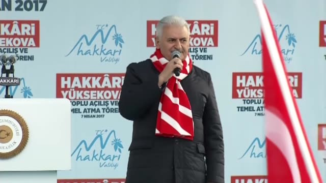 turkey's prime minister and the leader of the turkey's ruling justice and development party binali yildirim speaks to the crowd during a mass opening... - primo ministro turco video stock e b–roll
