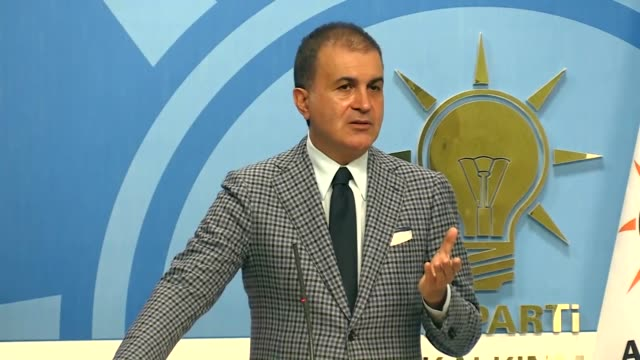 Turkey's ruling Justice and Development Party spokesman Omer Celik speaks at a press conference at the party headquarters in Ankara Turkey on October...