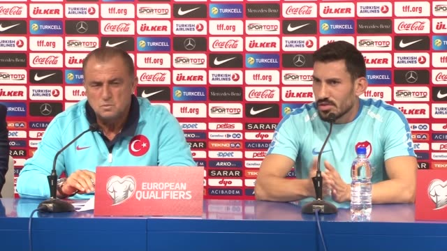 turkey's sener ozbayrakli speaks during a press conference next to head coach fatih terim in zagreb croatia on september 04 2016 turkey will face... - world cup qualifying round stock videos and b-roll footage