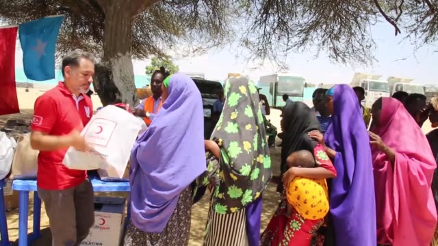 Turkey's state aid agency provided clothing to families in a refugee camp located in the Somali capital Mogadishu on March 05 2019 The Turkish Red...
