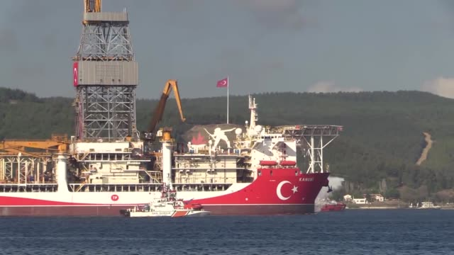 turkey's third drilling ship kanuni is seen as it passes through the dardanelles on sunday oct 18 to participate in drilling activities in the black... - cube stock videos & royalty-free footage