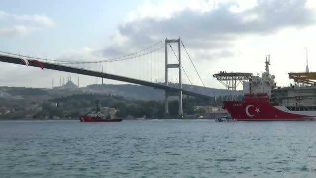 turkey's third drillship kanuni passes through istanbul's bosphorus strait as it sets sail for black sea, in istanbul, turkey on november 13, 2020. - bosphorus stock videos & royalty-free footage