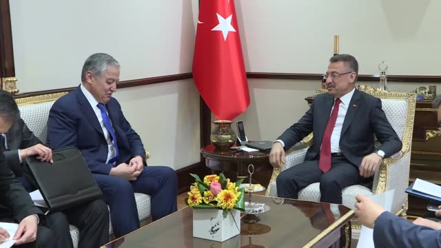 Turkey's Vice President Fuat Oktay receives Tajik Foreign Minister Sirojiddin Muhriddin in Ankara Turkey on April 23 2019