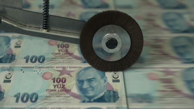turkish 100 lira banknotes being printed - turchia video stock e b–roll
