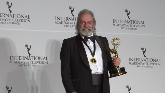 turkish actor haluk bilginer receives award for best actor at the 47th international emmy awards on november 25 2019 in new york - emmy awards stock videos & royalty-free footage