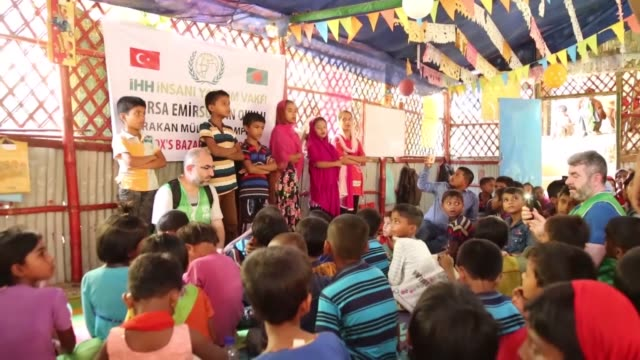 "turkish aid agency has built a village for rohingya refugee muslims in bangladesh's cox bazaar region. named as ""emir sultan"", the village consists... - flag of bangladesh stock videos & royalty-free footage"