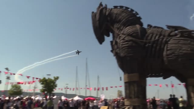 turkish air force's worldrenowned demonstration team soloturk performs a demonstration flight on the occasion of the national sovereignty and... - time of day stock videos and b-roll footage