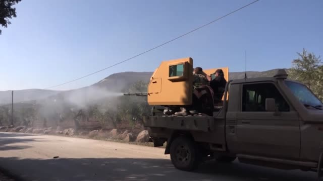 turkish and free syrian army forces cleared one more village of pyd/pkk terrorists on february 01, 2018 during their counterterrorism operation in... - isil konflikt stock-videos und b-roll-filmmaterial