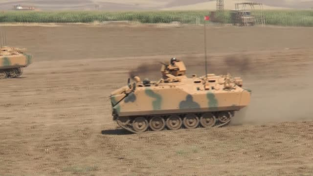 turkish and iraqi armed forces take part in a joint military exercise on the turkishiraqi border near the habur border gate in silopi district of... - silopi stock videos and b-roll footage