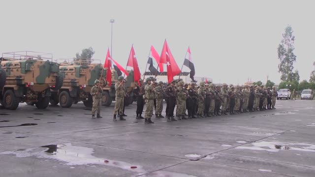 turkish and iraqi forces arrive at halil ibrahim border crossing in iraq on october 31 2017 the erbilbased krg is expected to hand over control of... - silopi stock videos and b-roll footage
