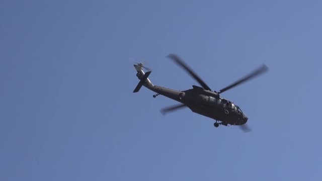 turkish and us armed forces conducted the sixth round of joint helicopter flights on saturday for a planned safe zone east of the euphrates river in... - helicopter stock videos & royalty-free footage