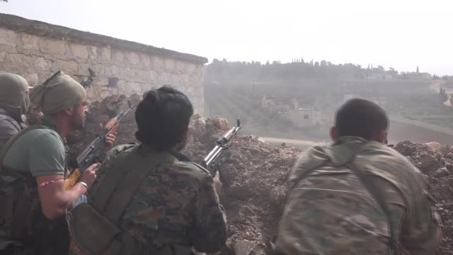 turkish armed forces and free syrian army liberate sharan district from ypg/pkk terrorists as part of the ongoing operation olive branch in syria's... - people's protection units stock videos & royalty-free footage
