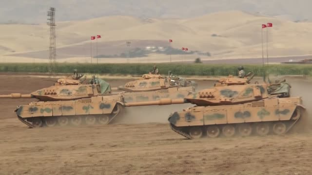turkish armed forces continue their military exercises on its eighth day on the turkishiraqi border near habur border gate in the silopi district of... - silopi stock videos and b-roll footage