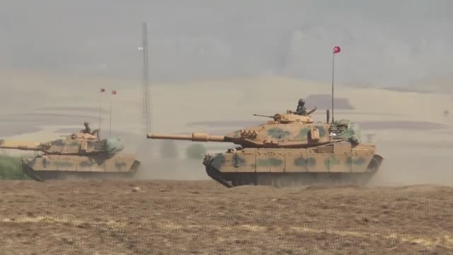 Turkish Armed Forces continue their military exercises on its seventh day in the Silopi and Habur areas on the Iraqi border on September 24 2017 near...