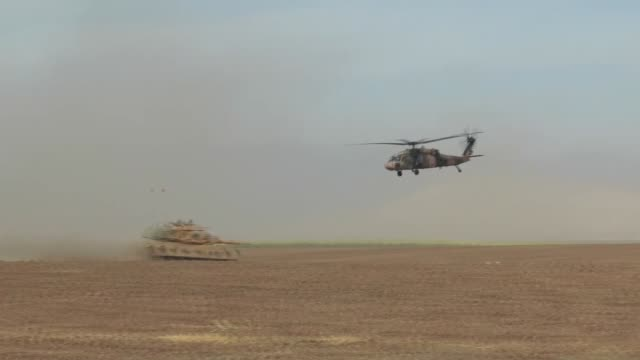 turkish armed forces continue their military exercises on its seventh day on the turkishiraqi border near habur border gate in the silopi district of... - silopi stock videos and b-roll footage