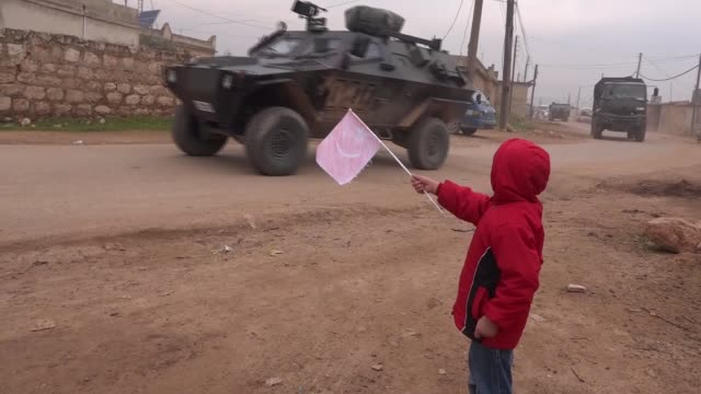 Turkish Armed Forces convoy moves to the fourth observation point in Idlib Syria on February 05 2018 A convoy of Turkish Armed Forces moved to the...