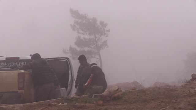 turkish armed forces, jointly with the free syrian army , extended the recently launched operation olive branch to azaz district, east of afrin in... - isil konflikt stock-videos und b-roll-filmmaterial