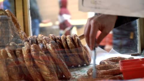 turkish bagel on street - turkish ethnicity stock videos & royalty-free footage