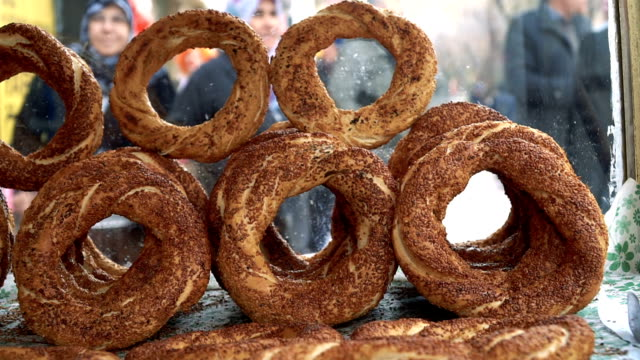 turkish bagel on street - turkish ethnicity stock videos & royalty-free footage