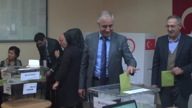 turkish citizens cast their ballots for turkey's upcoming parliamentary elections at turkish embassy in copenhagen denmark on october 8 2015 snap... - oresund region stock videos and b-roll footage