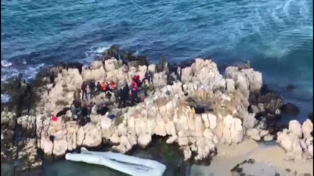 turkish coast guards on december 14 2017 launched a rescue operation for 68 migrants stranded in the aegean sea the migrants including women and... - mittelmeer stock-videos und b-roll-filmmaterial