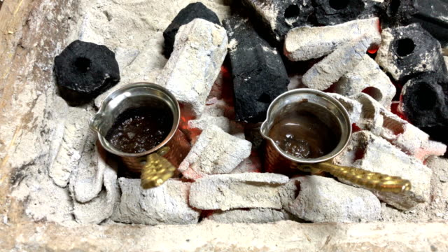 turkish coffee on the fire - coal stock videos & royalty-free footage