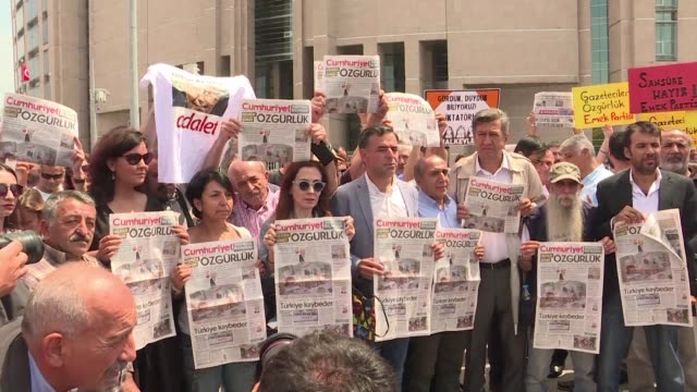 turkish court was due friday to decide whether to release journalists from opposition newspaper cumhuriyet jailed on charges of supporting terrorism... - law stock videos & royalty-free footage