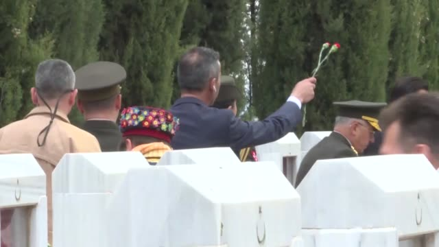 turkish culture and tourism minister mehmet nuri ersoy visits the martyrs' memorial within the commemoration ceremony marking the 104th anniversary... - new zealand culture stock videos and b-roll footage