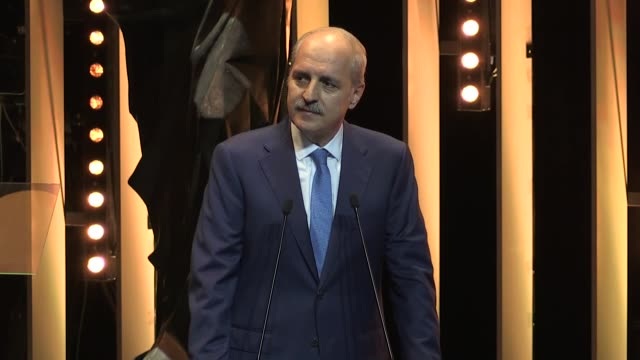 Turkish Culture and Tourism Minister Numan Kurtulmus delivers a speech at the opening ceremony of 54th International Antalya Film Festival on October...