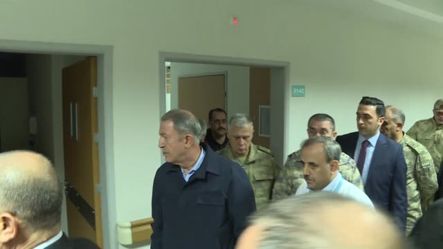 turkish defense minister hulusi akar on friday visited tens of others injured in an airstrike by forces of the bashar al-assad regime in idlib,... - air raid stock videos & royalty-free footage