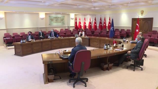 turkish defense minister hulusi akar receives nato secretary general jens stoltenberg in capital ankara, turkey on october 05, 2020. - nato stock-videos und b-roll-filmmaterial