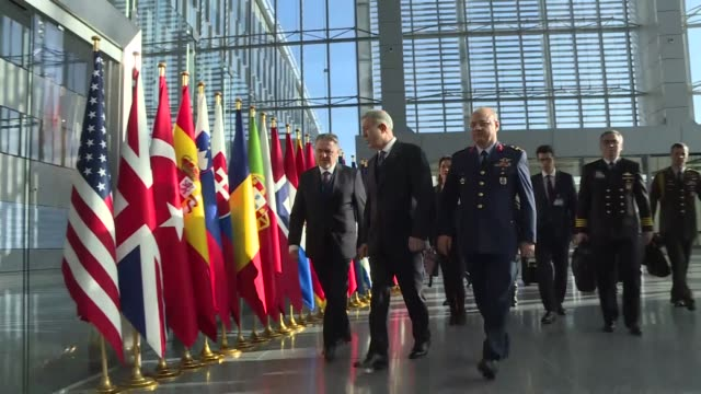 turkish defense minister hulusi akar visits turkish permanent representative to nato and turkish military representative ahead of the meetings of... - nato stock-videos und b-roll-filmmaterial
