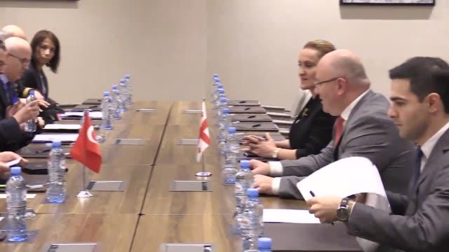 Turkish Defense Minister Nurettin Canikli and Georgian Defense Minister Levan Izoria hold an interdelegation meeting in Batumi Georgia on October 11...