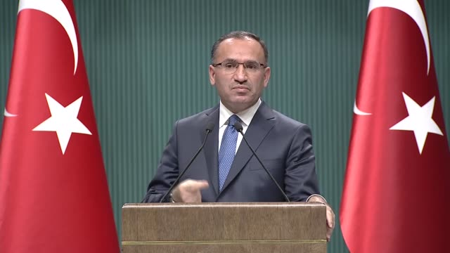 Turkish Deputy Prime Minister and government spokesperson Bekir Bozdag gives a speech during a press conference after cabinet meeting in Ankara...